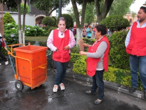 Cleaning crew with EPN masks